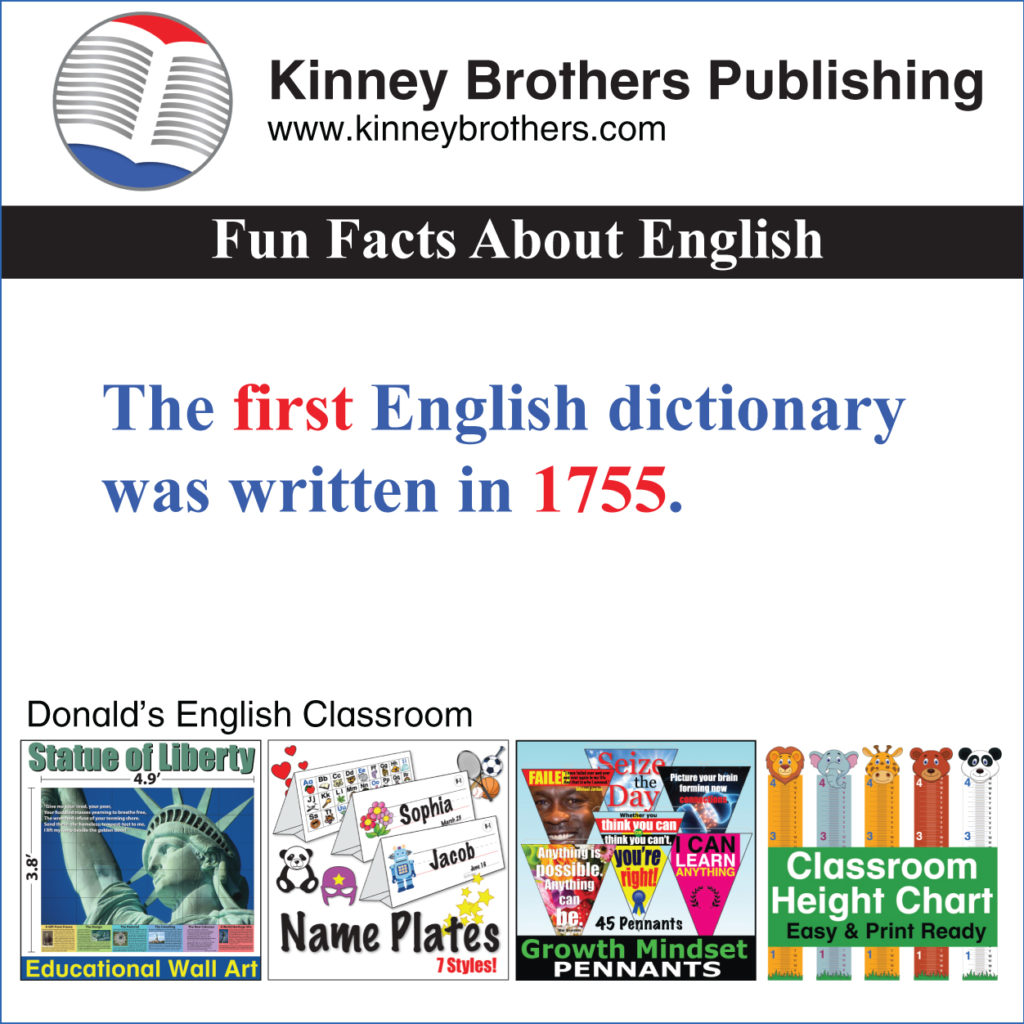 Fun Facts About English 15 Kinney Brothers Publishing