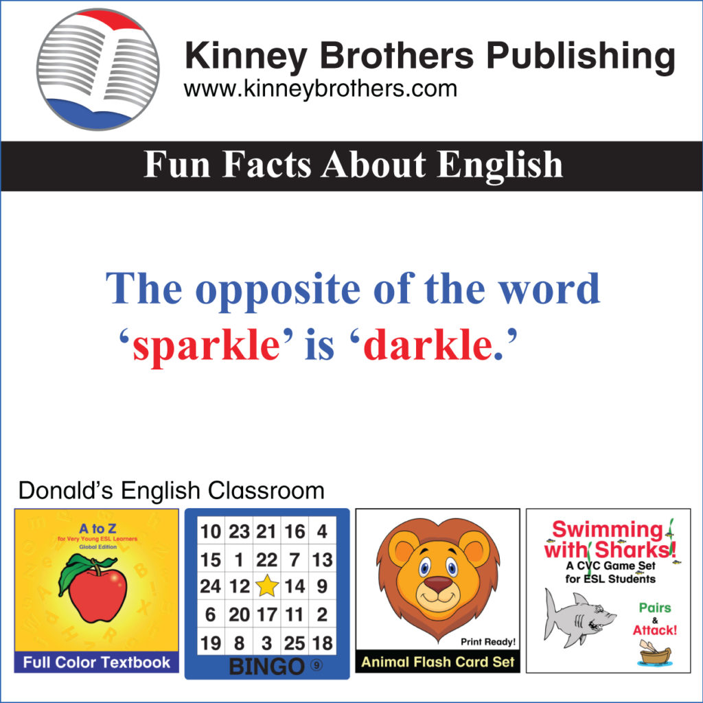 Donald's English Classroom Kinney Brothers Publishing Fun Facts About English