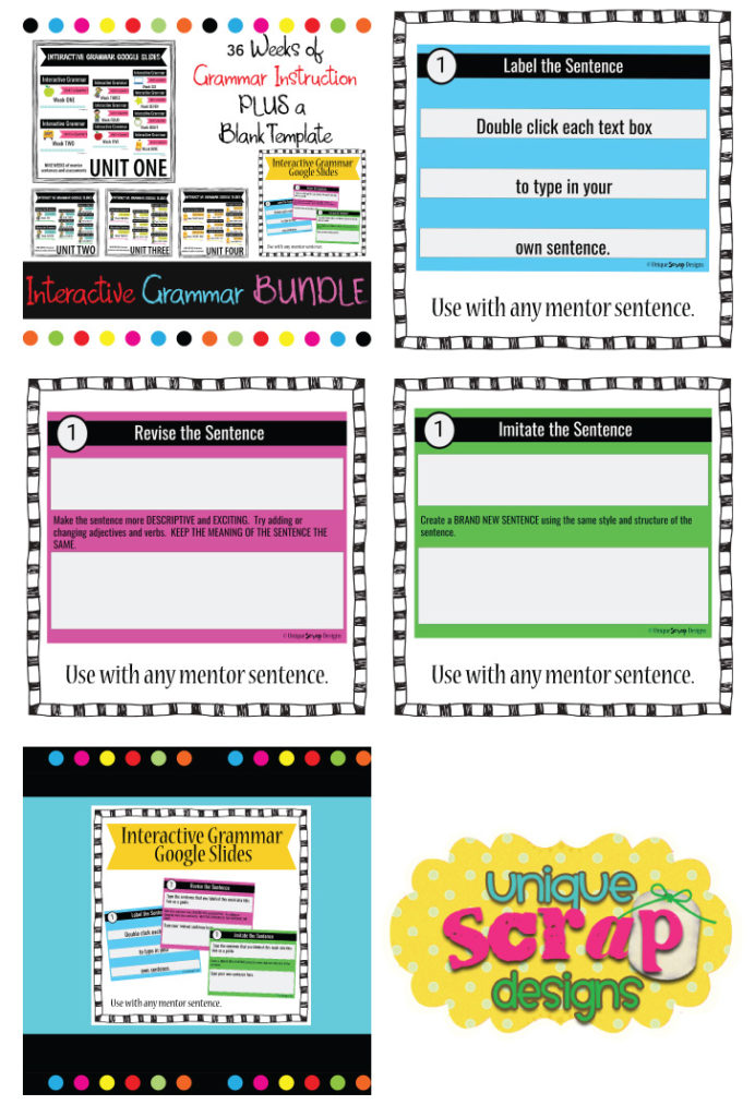 Interactive Grammar Bundle Unique Scrap Designs Kinney Brothers Publishing