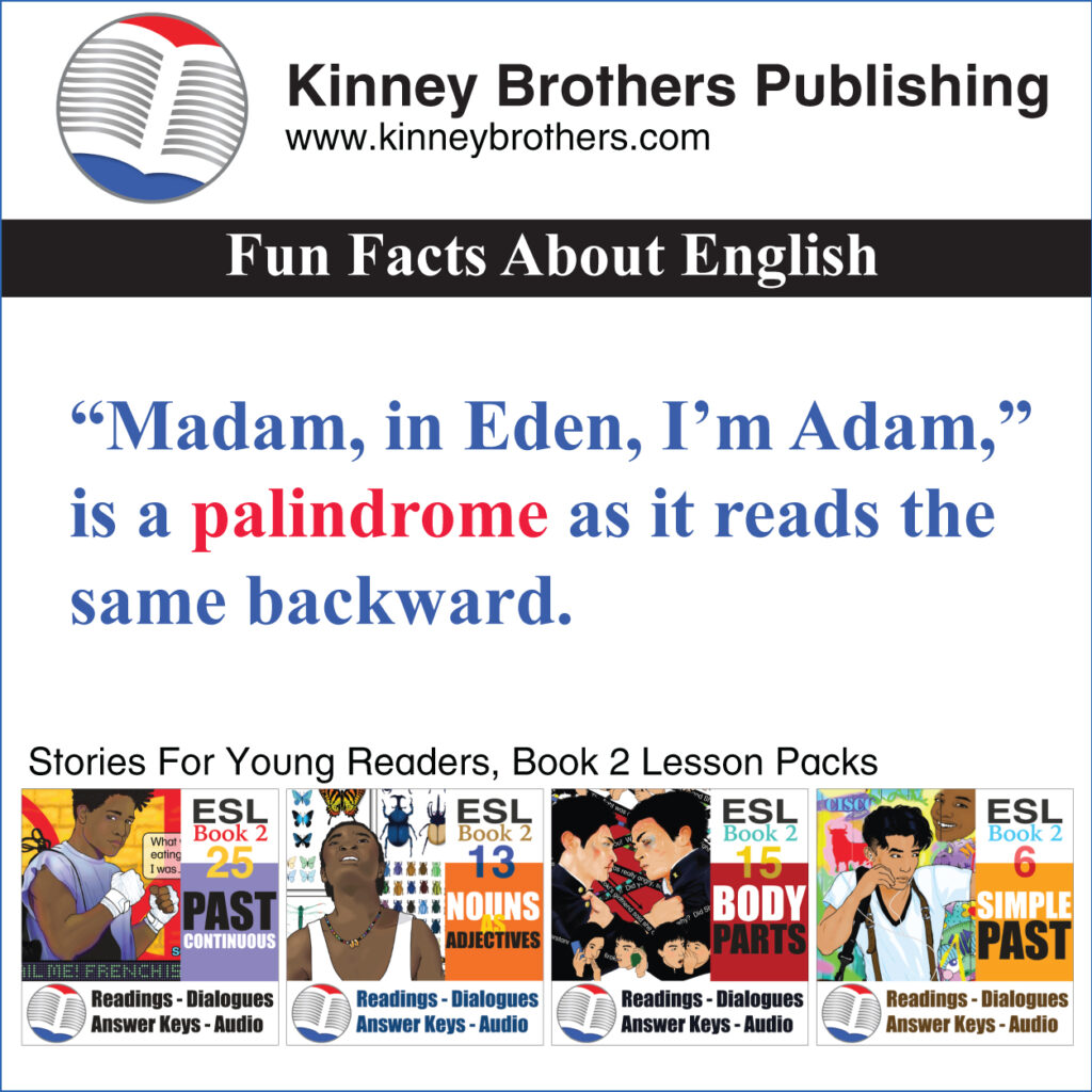 Palindromes Kinney Brothers Publishing